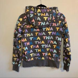 2/$50 Aritzia TNA Colorful lettering zip up hoodie
